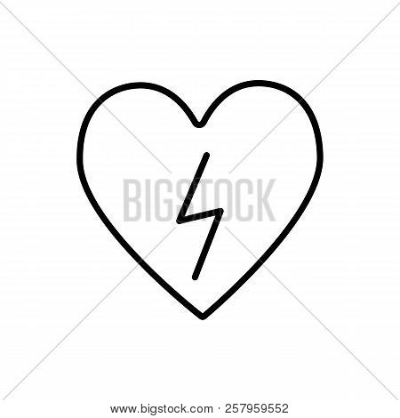 Heart With Lightning Line Icon. Heart With Lightning Bolt Vector Illustration Isolated On White. Def
