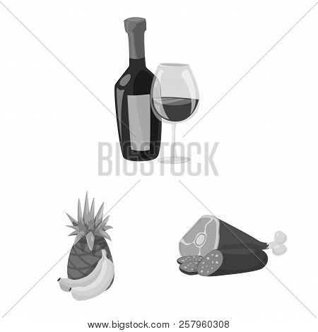 Vector Design Of Food And Drink Sign. Set Of Food And Store Vector Icon For Stock.