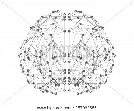 Human Brain Icon Isolated On White Background In The Form Of Artificial Intelligence For Computer Di