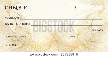 Check (cheque), Chequebook Template. Gold Lines Pattern (guilloche Watermark). Background For Ticket