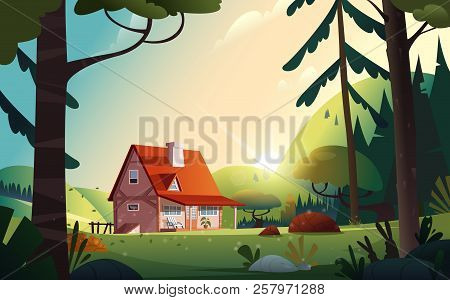 Country House In The Forest. Farm In The Countryside. Cottage Among Trees. Cartoon Vector Illustrati