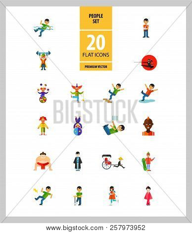 People Icon Set. Falling Down The Stairs, Slipping, Snowboarder, Ninja. Extreme Activity Concept. Ca