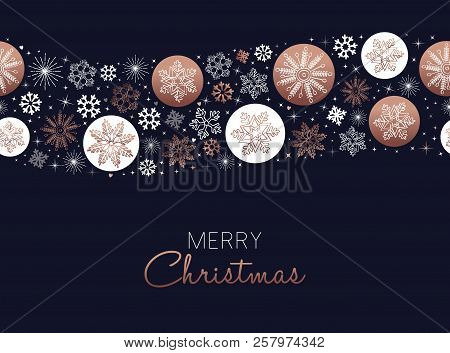 Merry Christmas Greeting Card Design With Copper Snowflake Seamless Pattern Background For Winter Ho