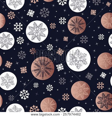 Copper Christmas Seamless Pattern With Hand Drawn Snow Decoration For Holiday Season Background. Eps