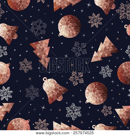 Copper Christmas Seamless Pattern, Low Poly Ornaments And Hand Drawn Snow Decoration For Holiday Sea