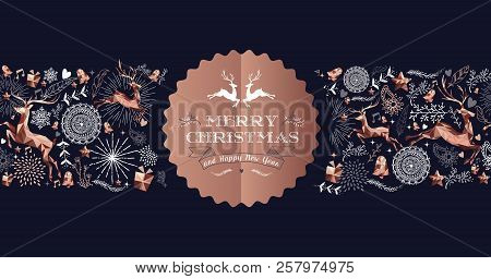 Merry Christmas Copper Label Design With Holiday Seamless Pattern, Reindeer Silhouette And Xmas Elem