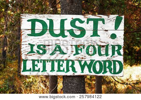 Dust Is A Four Letter Word on an old hand painted sign nailed to a pine tree trunk