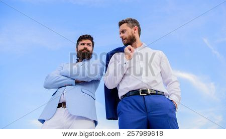 Perfect In Every Detail. Business Men Stand Back To Back Blue Sky Background. Impeccable Appearance