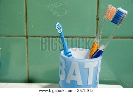 Toothbrushes. Family Concept