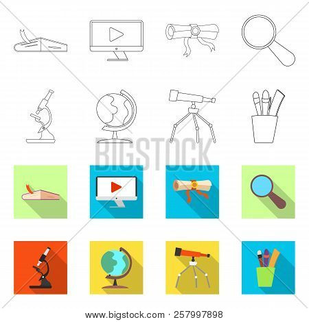 Vector Design Of Education And Learning Symbol. Collection Of Education And School Stock Symbol For