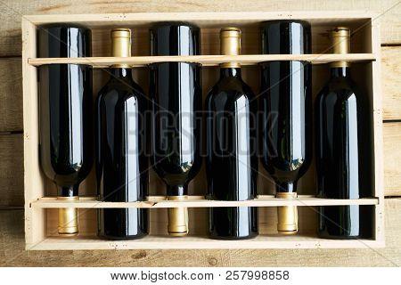 Top View Of A Case Of Cabernet Sauvignon Wine Bottles
