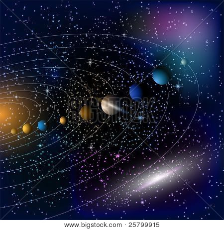 Stars and parade of planets. EPS 10 vector illustration.