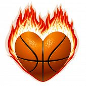 Vector basketball on fire in the shape of heart poster