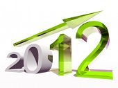 High resolution conceptual 2012 year as a graphic with a green arrow isolated on white background poster