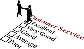 Business people handshake agreement to provide excellent customer service poster