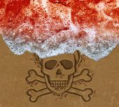 Red tide ocean crisis as deadly algae or natural toxin found in the sea as a marine life death skull on the beach concept  in a 3D illustration style. poster