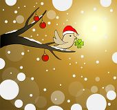 winter gold landscape with a lucky bird and snowflake poster