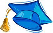 Vector Illustration of a Blue Graduation Cap poster