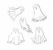 Ghosts set. Symbol of Halloween. Spook character of horror. Mystical Nightmare poster