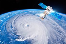 Research, Probing, Monitoring Hurricane Florence. Satellite Above The Earth Makes Measurements Of Th