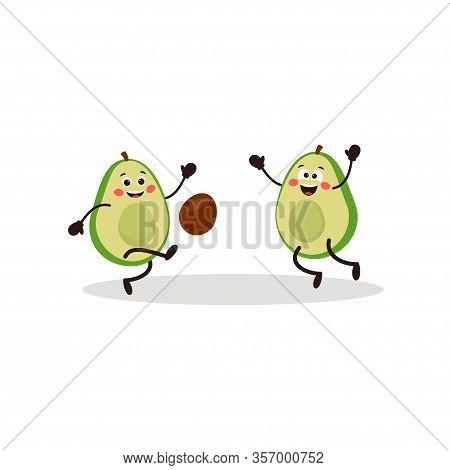 Cute Kawaii Avocado Characters Play Ball. A Kawaii Avocado Cut In Half. Sport Concept. Healthy Lifes