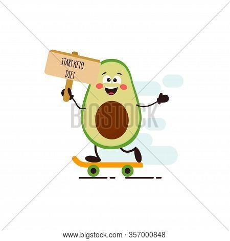 Funny Cute Kawaii Avocado Character. Start Keto Diet. Ketogenic Diet For Weight Loss And Treatment.