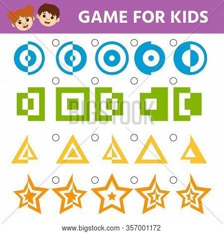 Education Logic Game For Preschool Kids. Kids Activity Sheet. Find Figure Matching. Iq Test. Childre