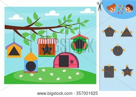 Education Logic Game For Preschool Kids. Kids Activity Sheet. Find Color Matching. Cute Flowers In A
