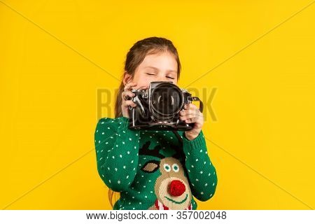 Learn To Take Photos With Dslr Camera. Photography Courses. Education Concept. Little Reporter Take