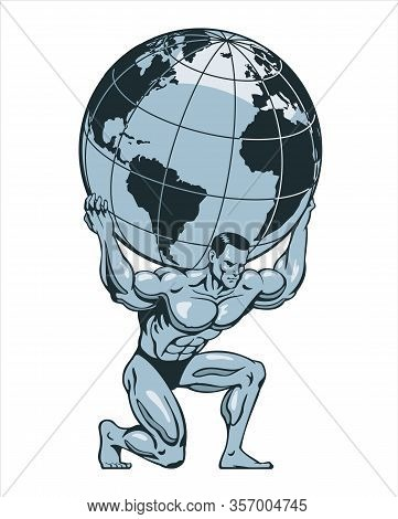 Atlas Or Titan Kneeling Carrying Lifting Globe World Earth On His Back. Bodybuilder. Stylized Vector