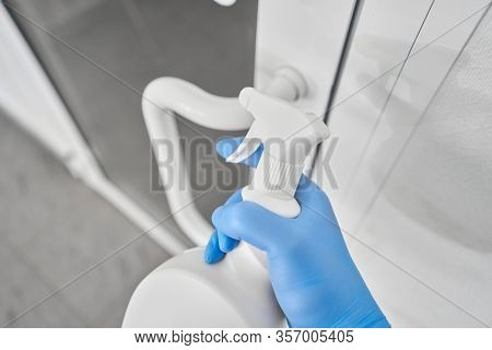 Disinfection, Cleaning And Washing Of Door Handles. Covid-19. Prevention Of Coronavirus Infection. C