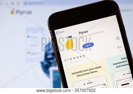 Los Angeles, California, Usa - 24 March 2020: Pyrus App Logo On Phone Screen Close Up With Website O