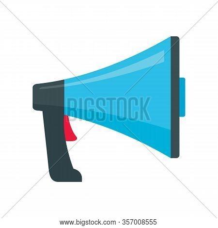 Speak Megaphone Flat Icon. Vector Speak Megaphone In Flat Style Isolated On White Background. Elemen