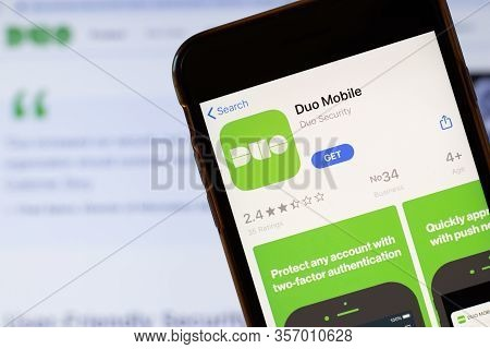 Los Angeles, California, Usa - 24 March 2020: Duo Mobile App Logo On Phone Screen Close Up With Webs