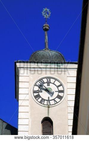 Clock Tower Of Cerveny Kamen Castle Red Stone Castle Near Casta Village, Slovakia