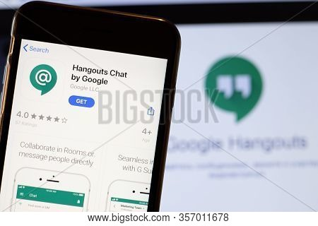 Los Angeles, California, Usa - 24 March 2020: Hangouts Chat By Google App Logo On Phone Screen Close
