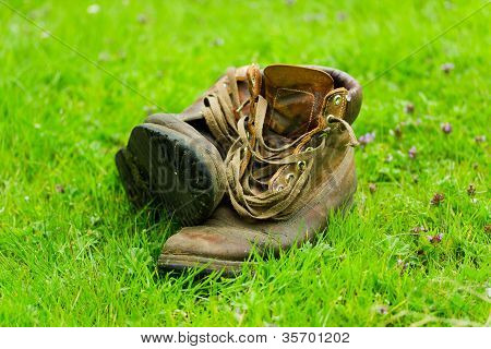 Pair of old worn boots in the grass poster