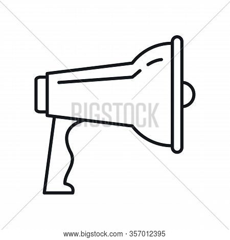 Broadcasting Megaphone Outline Icon. Vector Broadcasting Megaphone In Outline Style Isolated On Whit