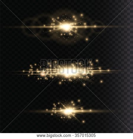 Yellow Glowing Light Explodes On A Transparent Background. Laser Beams, Horizontal Light Rays. Sun R