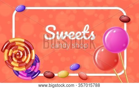 Rolled Caramel And Lollipops Orange On Background. Natural Candy. Vector Illustration. Colored Caram