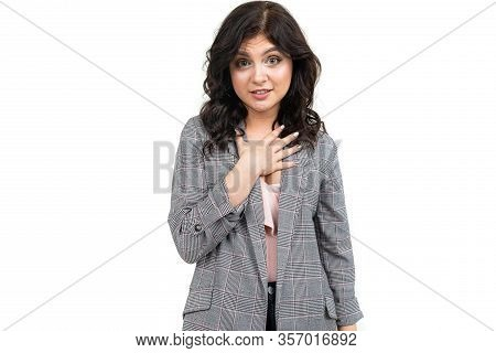 Girl In A Classic Checkered Gray Jacket Apologizes For The Inconvenience On A White Background.