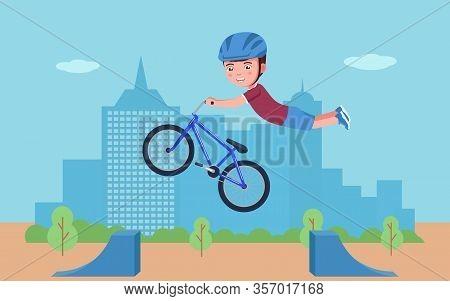 Boy Performs A Stunt On A Bmx Bike In A Park. Vector Illustration Cartoon Character Boy Bmx Bike Rid