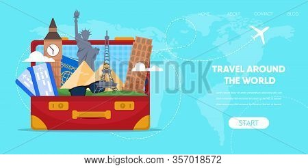 Travel Around World Concept. Suitcase Bag With Cartoon Famous Landmark Eiffel Tower Paris Statue Lib