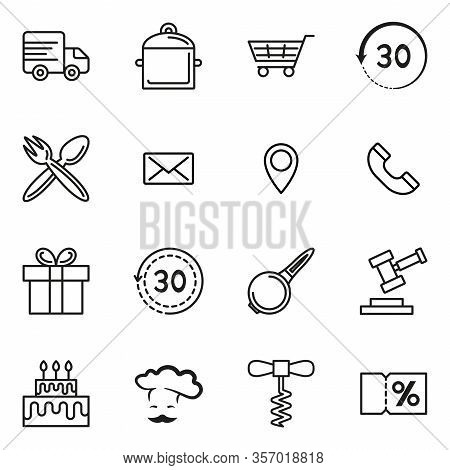 Set Of Computer Icons Of Online Cookware Store, Various Black Pictogram Signs, Isolated On White. Ve