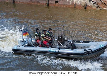Hamburg, Germany - May 12, 2018: Hamburg Water Police During The Port Anniversary. Hamburg Police Wa