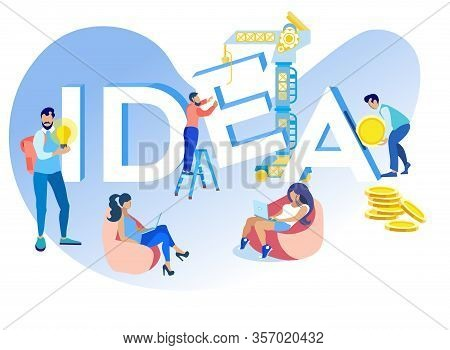 Vector Illustration Inscription Idea Cartoon Flat. Men And Women Make Their Own Contribution To Deve