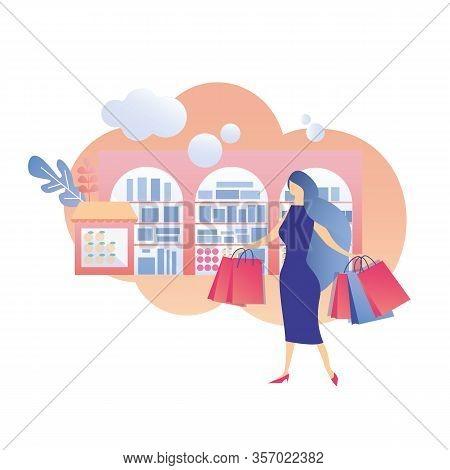 Fashion Elegant Woman Walking Through Shop Window With Goods Carrying Paper Selling Handbag Shopping