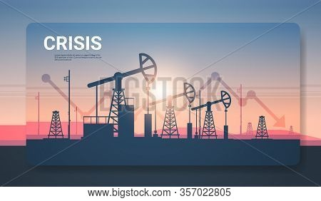 Pumpjack Silhouette Petroleum Production And Trade Oil Industry Downward Chart Arrow Falling Price C