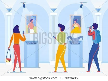 Women Tourists Coming To Art Gallery To Look At Famous Artworks Flat Cartoon Vector Illustration. Vi