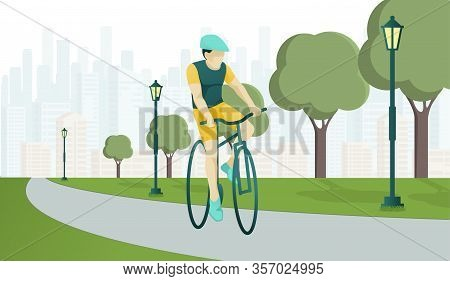Young Cartoon Man Character Rides Sports Bike On Park Road. Bicyclist Rider Hipster Guy In Helmet An